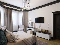 Спальня. Интерьер дома в современном стиле в Рекхолово, 250 кв.м.