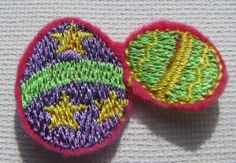 Double Easter Egg Applique/Patch/Feltie/Iron on 1.5 Wide X 1 Tall
