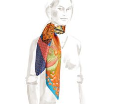 "Cheval Phoenix Hermes ""Happy Meeting"" silk twill scarf, hand rolled, 36"" x 36"" <br />A meeting is enough!<br /><br />The unexpected and happy meeting of two patterns put together to be of one mind.<br /><br />In total, seven assembled patterns are metamorphosing into new scarves.<br /><br />Therefore, our ""Cheval"" becomes ""Phoenix"", ""Camails"" are pulled into the ""Circuit 24 Faubourg"" and the ""Roy"" dresses up with ""Plumets"".<br /><br />Your imagination lets one pattern or another shine ..."