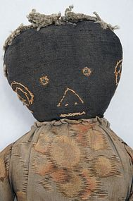 Black cloth boy doll embroidered face all original clothes antique