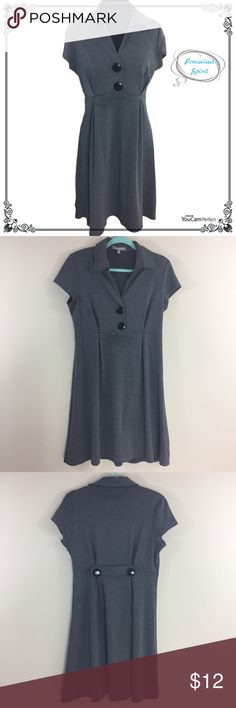 Ny collection gray empire a-line dress L Pre-owned in good condition- no major defects. Features: Ny collection gray empire a-line knit dress with black button accents. Zippers up side. Polyester/rayon/spandex. SIZE L NY Collection Dresses