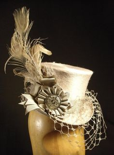 Taupe Bridal 'Belle Epoch' Mini Top Hat - very Steampunk