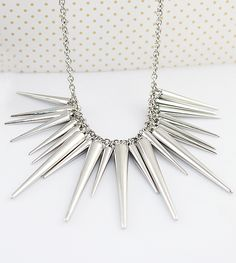 Exaggerate silver plated spike necklace