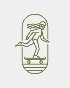 Skater lady line art logo badge.