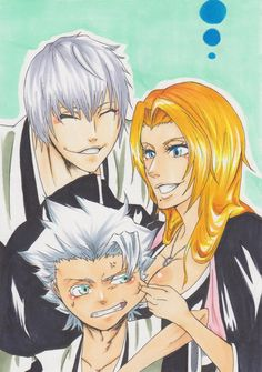 Toushirou, Rangiku, and Gin. This pic reminds me of fanfics where these three are a family! :) That would've been a better conclusion for them than what Kubo did to them.