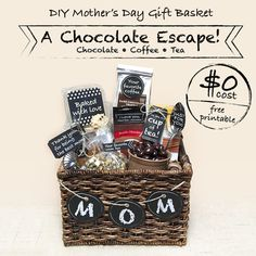 DIY Mother's Day Gift Basket – A Chocolate Escape! $0 cost with free printable.