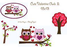 18x13 Stickdateien Valentine Cute Owls 2 Set von kindundkegel-shop auf DaWanda.com