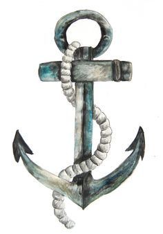 by Stephanie Breeze - New England Nautical Design, Nautical Art, Nautical Fashion, Nautical Style, Watercolor Wolf Tattoo, Watercolor Paintings, Anchor Illustration, Anchor Painting, Anchor Drawings