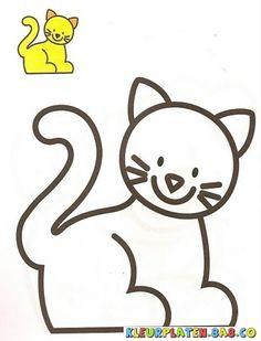 kitten toont Kleurplaten | KLEURPLATEN MET VOORBEELDEN | Tekening van een kitten met een voorbeeld schilderij | kleurplaten.8a8.co