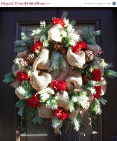 Christmas Burlap Wreath, Christmas Wreath, Burlap Door Wreath, Country Wreath, Burlap Christmas Wreath