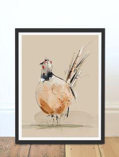 Illustrative Pheasant Art Print by Green Lili. Digital Art Wall Art. Gift. Interiors.