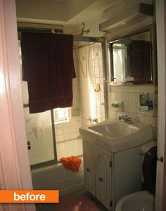 Ikea Bathroom Before After before & after: a bathroom goes from pinky peach to sleek and chic