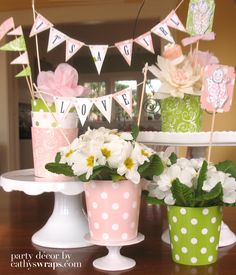 Tea party, Baby Shower, Bridal Shower, Wedding Centerpieces / Decorations / Favors. 6 Centerpiece VASES in Peach Pink Polka Dot & Paisley. $18.00, via Etsy.