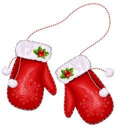 Large Transparent Christmas Santa Gloves PNG Clipart