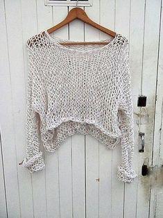 Loose Knit Sweaters, Summer Sweaters, Cotton Sweater, Sweaters For Women, Summer Knitting, Hand Knitting, Chaleco Casual, Débardeurs Au Crochet, Fishnet Top