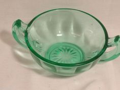 Vintage Green Depression Glass Sugar Bowl No Damage #Unknown  For Sale - opening bid is just $12.99