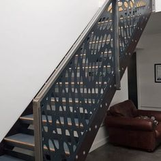 Laser Cut Balustrades - Miles and Lincoln - Laser Cut Screens Spiral Staircase, Staircase Design, Staircases, Laser Cut Screens, Garden Fence Panels, Quote Template, Manhattan New York, London Restaurants, Tree Designs