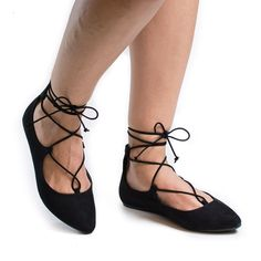 Sequel16V Jean Denim By Bamboo, Pointy Toe Corset Lace Up Leg Wrap Ballerina Flats