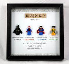 Personalisierte LEGO Style Superhelden Frame - Batman, Spiderman, Superman, Wolverine Batman figures have invariably been Diy Father's Day Gifts, Father's Day Diy, Fun Gifts, Fathers Day Crafts, Gifts For Father, Fathers Day Presents, Best Gifts For Dad, Fathers Day Ideas, Christmas Presents For Husband