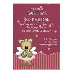 Fairy Birthday Party Customizable Teddy Bear Pink Fairy Princess Card