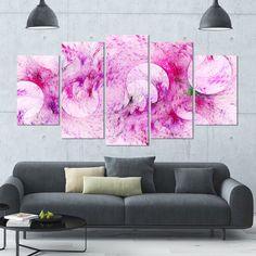 DESIGN ART Designart 'Pink Fractal Glass Texture' Abstract Artwork on Canvas - 60x32 - 5 Panels Diamond Shape
