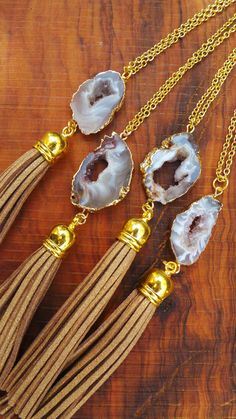 Glow Necklace, A Brilliant Glow Jewelry Item Druzy Jewelry, Tassel Jewelry, Jewelery, Jewelry Necklaces, Diy Necklace, Tassel Necklace, Geode Necklace, Necklace Chain, Leather Necklace