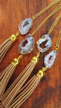 Collar de cadena larga oro de druzy. por AllAboutEveCreations