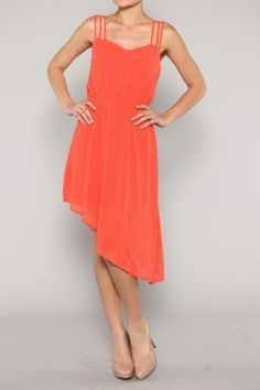 DRESS- Unbalanced Chiffon Dress  MORE COLORS AVAILABLE Register for the Refer a Friend chance to win a $300 shopping spree!!