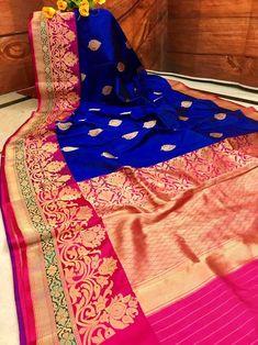 Deep Blue & Hot Pink Combination Pure Katan Banarasi Saree
