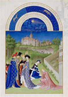 Le mois d'avril. Jean et Hermann Limbourg. Les Très Riches Heures du duc de Berry (1411-1416) le Calendrier.