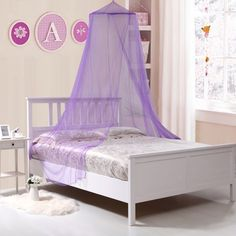 Create a fun and cozy space for your little one's room with this Kids' Collapsible Wire Hoop Canopy. The hoop expands to hold the soft, brightly-colored netting. This canopy fits twin, bunk, and full-size beds, and is easy to hang. Pink Bed Canopy, Princess Canopy Bed, Pink Bedding, Bedding Sets, Luxury Bedding, Ruffle Bedding, Crib Bedding, Bedding Storage, Princess Bedrooms