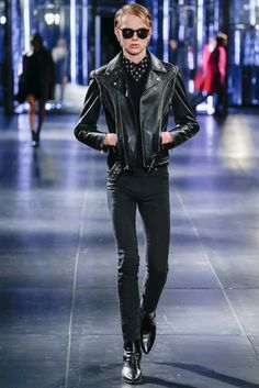 Classic: Leather biket jacket, black pants and boots. Saint Laurent Fall 2015 Menswear Fashion Show