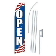 NeoPlex Patriotic Open Swooper Flag and Flagpole Set