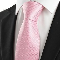 Mens Stylish Pink Jacquard Necktie
