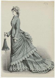 Anonymous | Dame met wandelstok, 1874, No. 57, Anonymous, 1874 | Vrouw in een gestreept jasje en japon met queue en sleep.  De japon en het jasje zijn afgewerkt met een kartelrand. In de rechterhand heeft zij een wandelstok, die ook als parasol kan worden gebruikt en een hoed versierd met lint en bloemen.