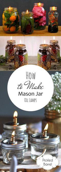 How to Make Mason Jar Oil Lamps| Mason Jar, Mason Jar Oil Lamps, DIY Oil Lamps, Mason Jar Crafts, How to Make Your Own Oil Lamp, Crafts, DIY Crafts, DIY Mason Jar, Popular Pin #DIYCrafts #MasonJar #DIYOilLamps