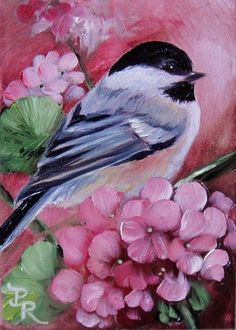 """""""The early bird may get the worm, but its the second mouse that gets the cheese."""" ~ Jeremy Paxman.  This adorable black-capped chicadee is painted by the brilliant artist Paulie Rollins."""