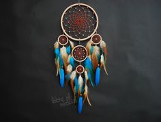 I can make a dream catcher with feathers and beads of different colors: light blue, purple, green, blue, yellow, red, orange and other colors.  Each work is individual and is handmade. To manufacture the catcher usually takes from four days to a week. After parcel is sent to You.  Dreamcatcher Tekoda, which translated from the language of Indians Lakota means - Friend to all  Diameter of rings (small size): 13cm; 5,5cm; 4 cm; 3,5 cm; (inches: 5,1; 2,2; 1,6; 1,4 )  The length: 42cm (17…