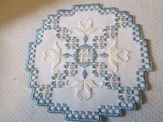 Hardanger Norwegian Embroidery Doily Antique White with White and Blue   eBay