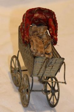 Home & Hearth Adaptable 2 Vintage Style Baby Doll Stroller Wicker Wood Metal Carriage Buggy Toy High Resilience