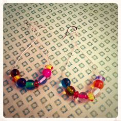 Colorful Glass Beaded Earrings by WrappedJewerlyDesign on Etsy