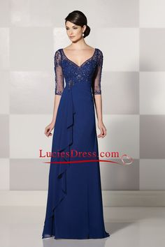 Affordable Mother Of The Bride Dresses 2016 With Beads Half Sleeves Dark Royal Blue US$ 189.99 LCPC5LYGD7 - LuciesDress.com