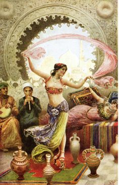 Dancer in harem (Orientalist painting). Her costume is somewhat manufactured, though not totally invented---she seems to be missing her chemise, among other things. Artist painted her in high pattens worn by ladies to travel in streets or in bathhouses, not indoor shoes normally; unless possibly she danced in them to show off her balance?
