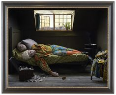 Fake Death Picture (The Death of Chatterton - Henry Wallis) by Yinka Shonibare, MBE, 2011, digital chromogenic print, framed: 58 5/8 x 71 1/4 in. (148.91 x 180.98 cm)