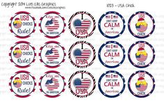 15 USA Chick 1 Download for 1 Bottle Caps 4x6 by MaddieZee on Etsy, $1.50