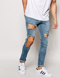 Jeans by ASOS Firm-stretch denim Extreme open rips Light wash Zip fly Super  skinny fit - cut closest to the body Machine wash Cotton, Elastane Our  model ...