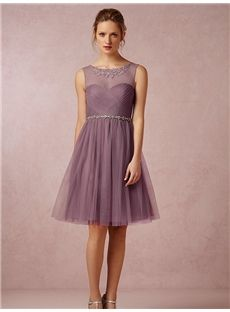 A-line/Princess Scoop Knee-length Tulle Bridesmaid Dress