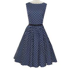 Blue Polka Dot Belted Vintage Dress