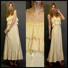 CREAM GARDEN WEDDING BOHO MAXI GYPSY DRESS utterly simple for beach wedding