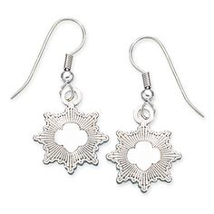 "Flattering dangling earrings with raised Silver Award symbol. ""Girl Scout Silver Award"" on back. Silvertone iron. Surgical-steel wire. 5/8""...."